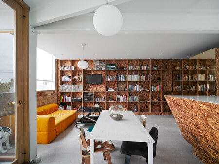 australian loft made out of oriented strand board bookcase porn. Black Bedroom Furniture Sets. Home Design Ideas